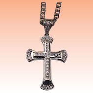 Unique Estate Vintage Huge Cross White 37 Cubic Zirconia  Stones 925 Sterling Silver Mens Pendant, early 1900s