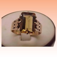 Victorian Unisex 14K Solid Pink Gold Genuine 8.00 Carats Citrine, 1800s