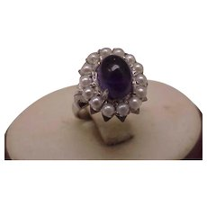 Incredible works of Art Antique 14k White Gold  Genuine Cabochon Amethyst & Seeds Pearl, 1930's