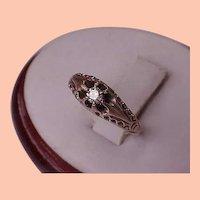 Victorian  1800's Antique Old European Cut .15ct Diamond Belcher 12k Gold Ring .. Amazing!