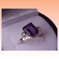 Ladies Vintage 10K Yellow Gold Large Genuine Amethyst Diamond Ring, 1950s