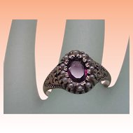 Victorian Enameled 12K Gold Genuine Amethyst & Genuine Seed Pearls Ring, late 1800s
