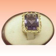 Estate Vintage  10k Yellow Gold 14.00 Carats Emerald Cut Amethyst Ring