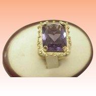 Estate Vintage  10k Yellow Gold 14.00 Carats Emerald Cut Amethyst Ring