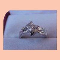 Estate Vintage 1.00ctw Natural Princess Cut Diamond 10k White Gold Ring
