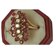 Estate Vintage 14k Yellow Gold Ring: 2.00carats Diamond & Rubies