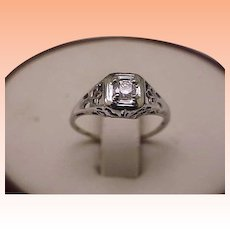 Art Deco 14k White Gold Engagment .20ct Brilliant Cut Diamond Filigree Ring ,1920's