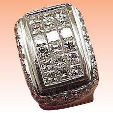 Estate Men's 5.70 Carat Princess Square Invisible + Round Cut Diamond 18kt White Gold Ring, 24.3gr Amazing!!!