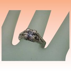 Fabulous! Deco Estate Palladium Natural Tanzanite Filigree Ornate Ring,1950s