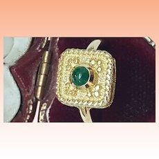 Art  Deco 14k Yellow Gold Genuine Cabochon Emerald Ring ,Beautiful Piece
