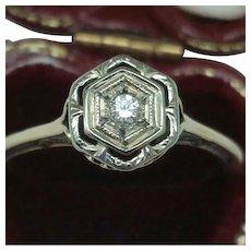Antique  Art Deco 2-Tone 14k Gold Filigree Diamond Ring,early 1900s