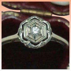 Vintage Art Deco 2-Tone 14k Gold Filigree Diamond Ring,early 1900s