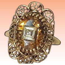Art Deco 10k Yellow Gold Filigree Genuine Citrine Diamond Ring,1930's