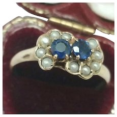 Antique Victorian 12k Yellow Gold Genuine Sapphires & Genuine Pearl Seeds Ring, late 1800s