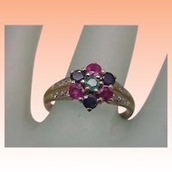 Ladies Victorian 10Kt Yellow Gold Genuine Sapphire Rubies Emerald and Diamonds Ring