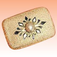 Antique C. 1860 Victorian 14k Yellow Gold Damascene Black Enamel Brooch Pin