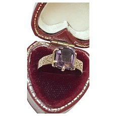 Super Nice Fancy 10K Gold Victorian Ring Genuine Amethyst Great Mount, 1800s