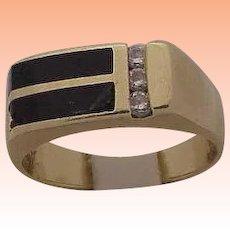 Unisex Estate 14kt Yellow Gold Black Onyx & Diamonds Ring Vintage, 1950s