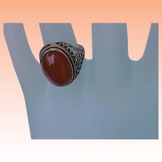 Antique Victorian Huge Genuine Carnelian 14k Filigree White Gold  Ring , early 1900's