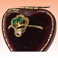 Estate Vintage 14k Yellow Gold  Pendant  & 14k Yellow Gold Emerald & Diamond  Ring set, Beautiful Pieces!