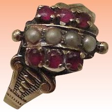 10K Rose Gold Antique Victorian Natural Rubies and Seed Pearls Ring ,late 1800s