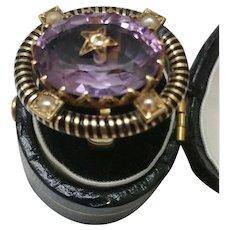 Gorgeous Victorian Enamel 14kt Gold 10.00ct Huge Natural Amethyst Seed Pearl Diamond Ring