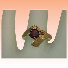 Estate Art Deco 14k Yellow Gold Genuine Garnet & Diamond Ring ,1930's