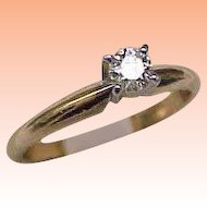 Estate Vintage 14k Yellow Gold Engagment .25ct VS/G Old European Cut Diamond Ring,1950s