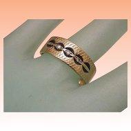 Estate Vintage 3 Diamonds Unisex Enameled Wedding Band 14kt Yellow Gold Ring, 1930s