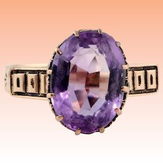 Antique 1880s Victorian 10k Rose Gold Rose De France Amethyst Purple Ring