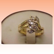 Estate Vintage 14K Yellow Gold Eight Snake Head Ring w/ Diamonds,1950s