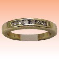 Estate 14K Yellow Gold 6 Diamonds Wedding Ring Band, 1950's