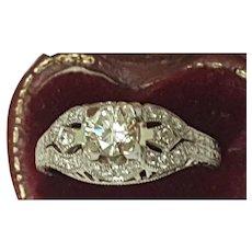 GIA  Certified! $7,057 Vintage  .75cttw Diamond Platinum Filigree Ring Appraisal
