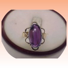 Antique 14k Yellow Gold Genuine Huge Cabochon Amethyst Ring