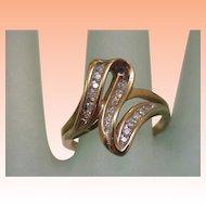 Estate Art Deco 10K Yellow Gold .60cttw Diamond Cluster Ring
