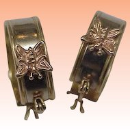 "Very Cute Art Deco 14kt 2-Tone Gold ""Butterfly "" Hoop Eearrings, 1950's"