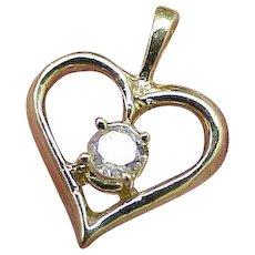 Estate Vintage 14k Yellow Gold Genuine .25ct Solitaire Diamond Pendant, Beautiful Piece