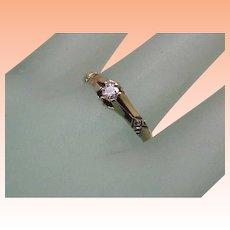 Antique Victorian 14k Yellow Gold .20ct Diamond Belcher Ring, 1880s