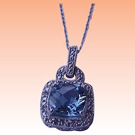 Art Deco 10K White Gold  Pendant:Blue Topaz & Diamonds,1930s