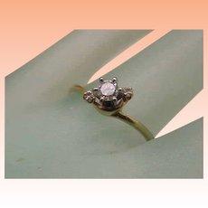 Estate Vintage 14k Yellow Gold Engagment .22ct Diamond Ring,1950's