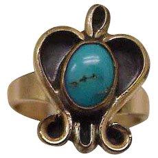 Estate Vintage Persian Turquoise Enameled 14k Yellow Gold Ring, 1930's