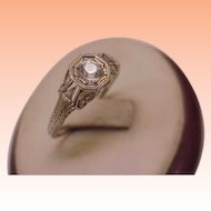 Art Deco 18K White Gold  Old Cut Paste Stone Ring