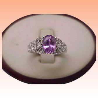 Vintage  Gorgeous Very Rare Violet Pink Sapphire 18k White Gold and Diamond Filigree Engagement Ring