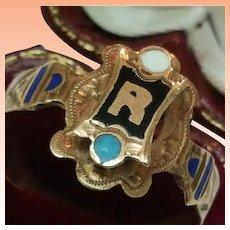 "Antique Unisex 10k Pink Gold Enameled ""R""Ring, 1800s"
