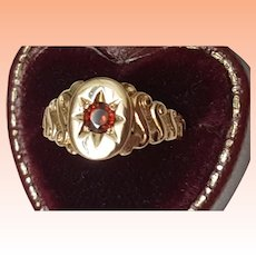 Antique  Ladies 10k Yellow Solid Gold Ostby & Barton Garnet Ornate Ring