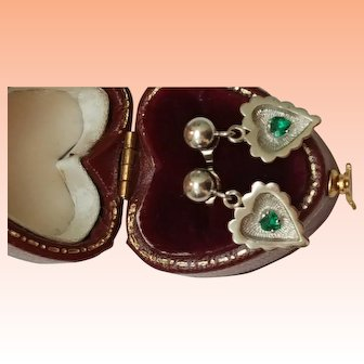 Antique 10k White Gold Natural Emeralds Earrings Studs
