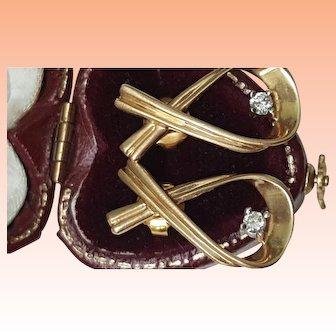 Vintage 14k Yellow gold .25ctw Diamond Earrings Studs