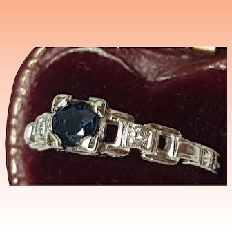 Incredible works of Art,  Deco 18k White Gold Ring: .50ct Natural Blue Sapphire & Diamonds Filigree Ornate Ring