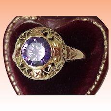Art Deco 14k gold multi color 3.50ct Genuine Amethyst Filigree Ring