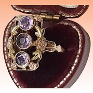 Ostby Barton Art Deco 3 old cut Stone Amethyst 10k 2-Tone Gold Ring. Own a Piece Of Titanic History